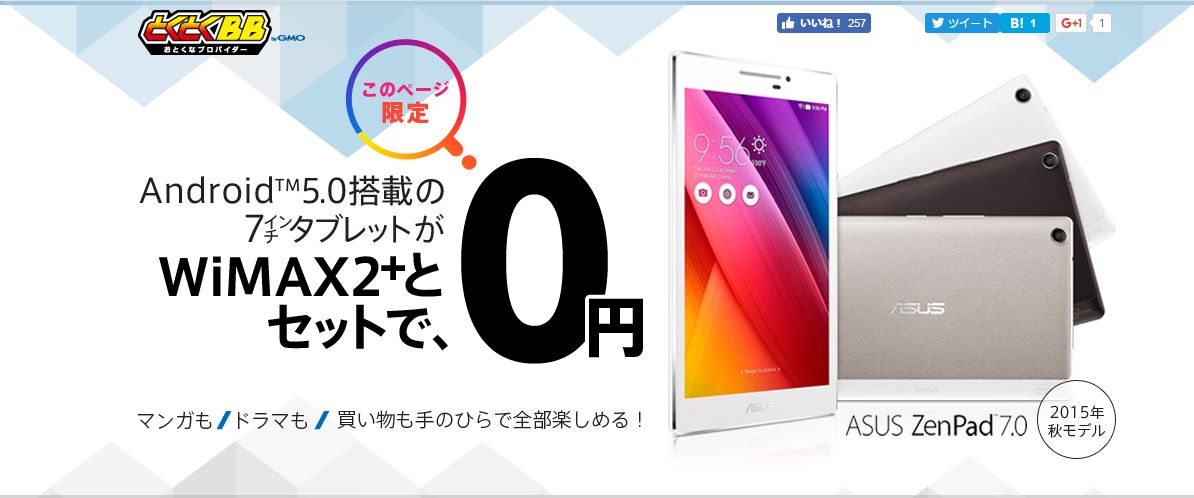 GMOとくとくBB WiMAX タブレットセット