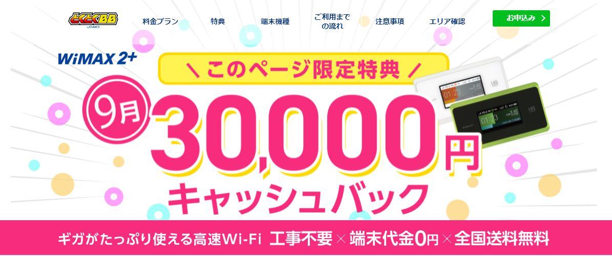 GMOとくとくBB WiMAX キャッシュバックキャンペーン 最大30,000円キャッシュバック